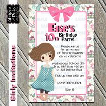Invitaciones De Cumpleaños-adolescentes-girly-vintage-classy