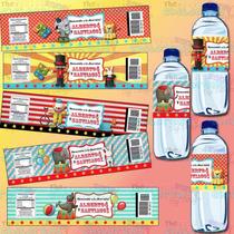 Etiquetas Para Bote De Agua-fiesta De Circo-carnaval-payasos