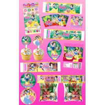 Kit Imprimible Blanca Nieves Personalizado 30 Etiquetas