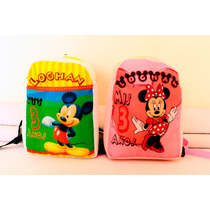 Dulcero Mochilita De Mickey Y Minnie 100% Personalizable