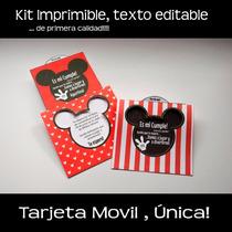 Kit Imprimible Tarjeta De Invitacion Movil Mickey Mouse