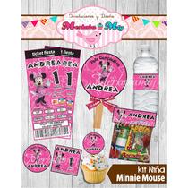 Invitacion Cumpleaños Minnie Mouse Kit Imprimelo Tú!!