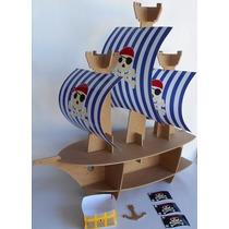 Base Stand Barco Pirata Para Cupcakes Mdf