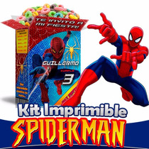 Kit Imprimible Spiderman, Kit Hombre Araña Candy Bar, Fiesta