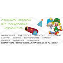 Kit Imprimible Payasitos Adornos Invitaciones Recuerdos Y+
