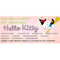 Kit Imprimible Hello Kitty Halloween Adornos Invitaciones Y+