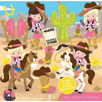 Kit Imprimible Vaqueros Cowboy Cowgirl Imagenes Clipart