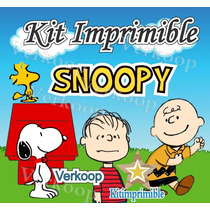 Kkit Imprimible Snoopy + Candy Bar Fiesta Personalizada Mx