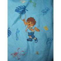 Sábana Para Cuna Viajera Diseño Azul Con Diego Y Bebé Jaguar