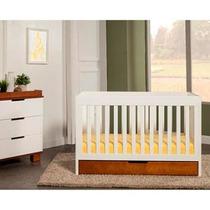 Cuna Convertible Baby Mod 3 En 1 Con Cajón, Blanco Y Ambar