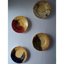 Juego De 4 Platos Decorativos De Cerámica Pintados A Mano