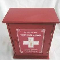 Botiquín De Primeros Auxilios De Madera Rojo De 24*13.5*30cm