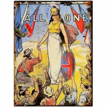 Cartel De Chapa - Todos Uno Vintage Art Imagen Retro British