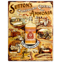 Cartel De Chapa - Suttons Amoníaco Placa Vintage Bellas Art