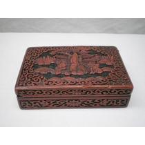 Antigua Caja China Periodo Qing Hecha En Material Cinnabar