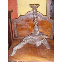 Antiguo Candelabro De Hierro Forjado Y Mezquite Envio Gratis