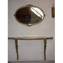 Mesa Consola En Bronce Con Cubierta Marmol Y Espejo Biselado