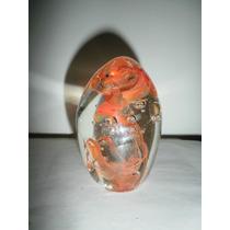 Huevo De Vidrio De Murano Con Burbujas Color Naranja