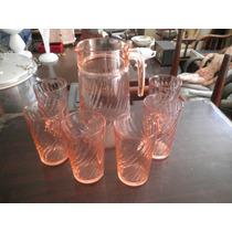 Jarra Y Vasos De Cristal De La Recesión De 1930