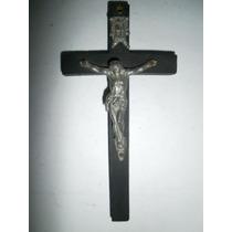 Crucifijo Italiano De Pared De Madera Y Bronce Blanco Mmu