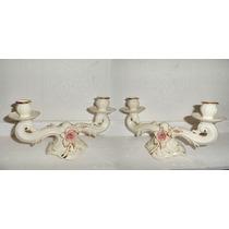2 Candelabros Antiguos De 2 Velas De Porcelana