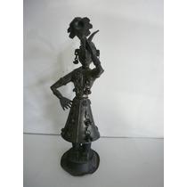 Antigua Escultura Musicante Hindu En Laton