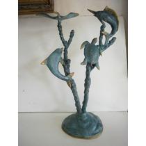 Escultura De Bronce Solido Con Delfines