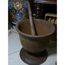 Antiguo Mortero Con Brazo Original De Hierro Fundido