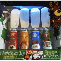 Navidad Cuchillos Y Tenedores Porcelana Botana Santa Angel