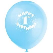 12 De Látex Azul Globos Del Feliz Cumpleaños Primero 6ct