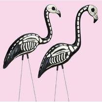 2 Patio Esqueleto De Halloween Flamingos Decoración Césped