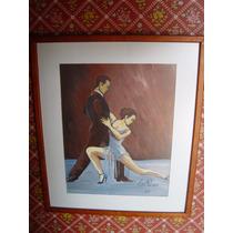 Pintura Al Oleo De Escena De Tango Firmado Cris Pereiro Azul