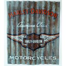 Lamina Decorativa Tipo Antigua Vintage Alas Harley-davidson