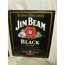 Cartel De Lamina Jim Beam Negro Letrero