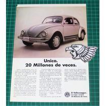 Antiguo Anuncio De Papel Publicidad Autos Volswagen Vocho