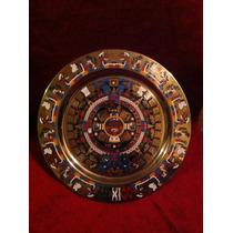 Plato Decorativo Calendario Azteca Bronce