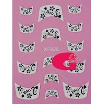 Sticker Uñas Frances 3d Set 4sobre Xf828,xf829,xf830,xf864