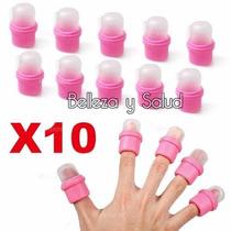 10 Chupones Dedales Para Retirar Uñas Acrilicas Acetona Cio