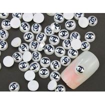 Decoracion 20pz Uñas Acrilico Dijes Perlas Chanel Logo Mano