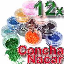 12 Concha Nacar Decoracion Uñas Acrilico Gel Colores Surtido