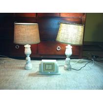 Lamparas Y Reloj Vintage De Marmol