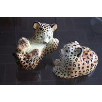 Par De Figuras De Porcelana De Leopardos Cachorros. Remate