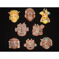 Máscaras Prehispánica Mini - Réplica Terracota Policromada 3