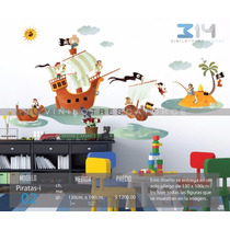 Vinilo Decorativo Infantil Piratas-i 02, Barco Pirata, Isla.