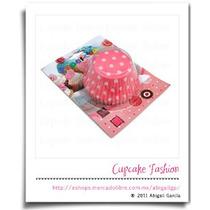 100 Capacillos Estándar Rosa Lunares Minnie Cupcake #1539