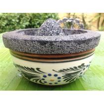 Molcajete Piedra Volcanica Plato Ceramica Original Unico