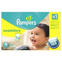 Pampers Pañales Swaddlers Tamaño 4 Economía Paquete Plus 144