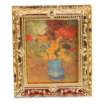 Marco De Plástico Golden Oil Pintura De La Flor 01:12 Miniat