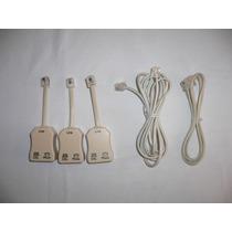 5pk 2 Cables + 3 Filtro Modem Internet Cables Telmex Dsl
