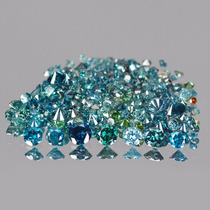 10 Diamantes 100% Naturales Azules De 1,4mm Redondos Vs1